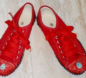 Red and Turquoise Blingy Canvas tennis sz 10
